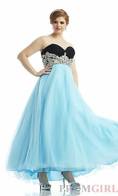 Long Two Tone Strapless Sweetheart Dress at PromGirl.com