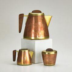 Karl Hagenauer; Copper, Brass and Wood Tea Service, 1930s.