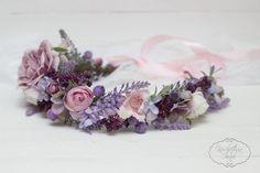 Purple flower crown Flower hair wreath Lavender by ByKochetova