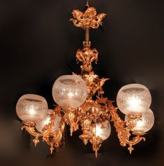Site full of antique Victorian chandeliers originally made for gas, now electrified. Varying degrees of crazy-ornate-ness. Victorian Style Decor, Victorian Lighting, Victorian Lamps, Antique Lighting, Victorian Fashion, Victorian Era, Antique Chandelier, Chandelier Lamp, Ceiling Lamps