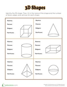 Learning shapes worksheets lovely best grade math images on of amp Education Quotes For Teachers, Quotes For Students, Kindergarten Reading, Kindergarten Worksheets, 3d Shapes Worksheets, Second Grade Math, Grade 1, Teaching Math, Teaching Geometry