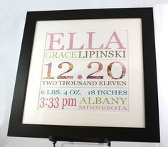 GREAT gift idea...  Page Frame Birth Announcement Baby Gift Digital Project Idea