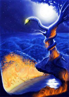(A Ira de Boitatá)-Os perseguidores da menina, tendo ferido a hospitalidade, foram abandonados por seus companheiros em terra e se perderam nas matas. Como castigo, foram devorados pela Cobra de Fogo que os transformou em ÁRVORES ANDANTES, continuando a vagar pelas matas assombrando os caçadores.