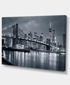 "Designart Panorama New York City At Night Cityscape Canvas Print - 32"" X 16"" - Blue"