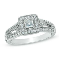 1/2 CT. T.W. Princess-Cut Diamond Vintage-Style Engagement Ring in 10K White Gold... one day!