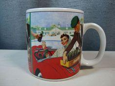 Coca Cola Coffee Mug Cup Picnic Scene Stoneware Sakura  #CocaCola
