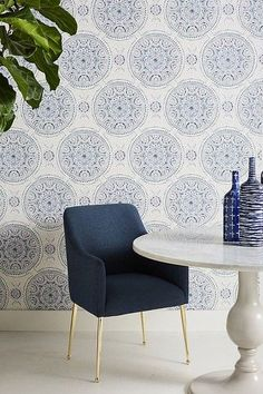Where to Buy Wallpaper Online: 12 Great Sources | Caroline on Design Bathroom Colors, Bathroom Sets, White Bathroom, Master Bathroom, Downstairs Bathroom, Bathrooms, Unique Wallpaper, Of Wallpaper, Office Wallpaper