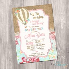 Shabby chic baby shower invitations rustic baby shower invitation hot air balloon baby shower invitation up up and away baby etsy filmwisefo Image collections
