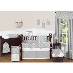 Shop for Sweet JoJo Designs Neutral Grey/ White Trellis 9-piece Baby Bedding Set. Get free delivery at Overstock.com - Your Online Baby Bedding Shop! Get 5% in rewards with Club O! - 16983669