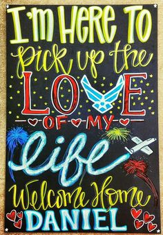 Military Homecoming Chalkboard Sign / Deployments Over / Welcome Home / Support the Troops / Surviving Deployment / Milso / Armed Forces / to see more projects or to order, check out www.facebook.com/charlestonchalkchick or email at charlestonchalkchick@gmail.com