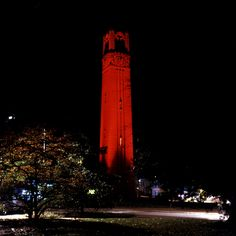 NC State's Red Belltower after a wolfpack win!