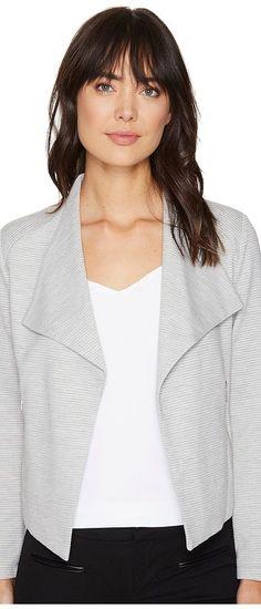 Calvin Klein Textured Flyaway Jacket (Heather Granite) Women's Coat - Calvin Klein, Textured Flyaway Jacket, M7CEQ818-065, Apparel Top Coat, Coat, Top, Apparel, Clothes Clothing, Gift, - Street Fashion And Style Ideas