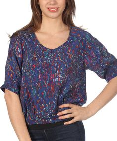 Another great find on #zulily! Navy Abstract V-Neck Top by Red Snap #zulilyfinds