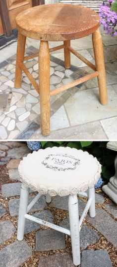 Shabby Chic Drop Cloth Rosette Stool Makeover.