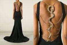 Cavalli snake-back gown
