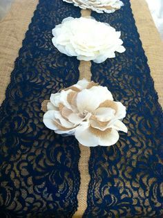 Blue lace table runner idea. maybe a mint or teal?