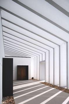 Beautiful white beams of light hallway