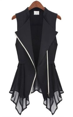 Amazon.com: Aokin Women Casual Sleeveless Chiffon Waistcoat Suit Black Vest Chiffon Blouse Tops Overshirt (L, Black): Beauty