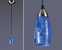 Blue glass light fixture