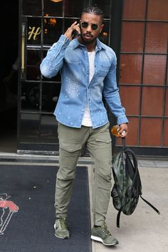 Actor Michael B. Jordan wears Ray Ban sunglasses & Nike sneakers as he exits the Bowery Hotel in #NYC. #streetstyle #brands
