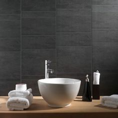 Anthracite Standard Tile Wall or Ceiling Cladding Panel (8mm x 375mm x 2.6m x 3 | Marbrex) Stunning stone tile effect wall or ceiling cladding panels, ideal for waterproofing ceilings in bathrooms and kitchens.