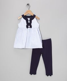 White Stripe Tammy Tunic & Navy Leggings - Girls by A.B.S. by Allen Schwartz #zulily #zulilyfinds