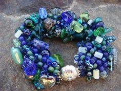 Deep Sea Green Soup  Knitted Beaded Bracelet by tsavoritesiren, $84.00