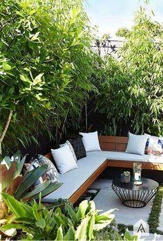 Backyard garden Oasis – 20 Urban Backyard Oasis With Tropical Decor Ideas… - Modern Backyard Seating, Small Backyard Landscaping, Small Patio, Backyard Patio, Landscaping Ideas, Backyard Designs, Pergola Ideas, Patio Design, Landscaping Software
