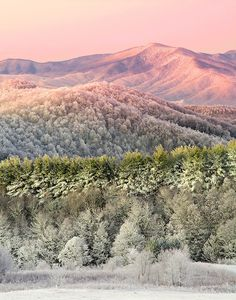 """""""APPALACHIAN WINTER"""" -- A layered winter sunrise from the summit of Max Patch mountain near Hot Springs, North Carolina in the southern Appalachian mountains."""