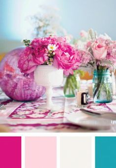 Color palette pink everyday ideas fuschia, light pink, white and teal color Bright Wedding Colors, Teal Colors, Wedding Color Schemes, Room Colors, Pink Color, Fuschia Wedding, Accent Colors, Color Schemes Colour Palettes, Rose Bonbon