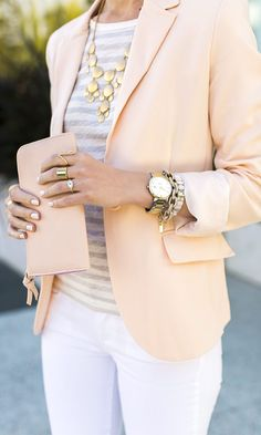 Women's Business Casual Office Attire::::Peach blazer, white pants and stripes (this classy outfit would be prefect for an office, lunch date, or any other dressy event during warmer weather) Estilo Fashion, Fashion Mode, Work Fashion, Street Fashion, Fashion Ideas, Fashion Styles, Office Fashion, Fashion 2015, Fashion Outfits