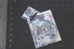 transparent bag with leather details