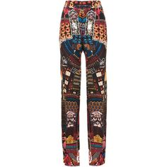 Dsquared2 'Samurai' trousers (11.994.230 IDR) ❤ liked on Polyvore featuring pants, black, silk print pants, patterned pants, dsquared2 pants, creased pants and silk wide leg pants