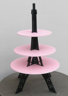Eiffel Tower cupcake stand pink and black by craftszigzag on Etsy