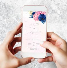 Electronic Cards, Electronic Invitations, Pink And Blue Flowers, Blue Wedding Flowers, Printing Websites, Online Printing, Types Of Printer, Celebrity Weddings, All Design