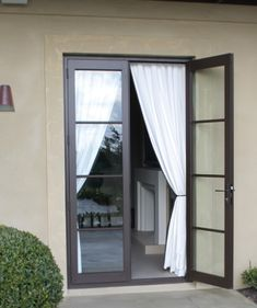 black windows white render french doors with horizontal bars French Windows, French Doors Patio, Narrow French Doors, French Patio, Interior Barn Doors, Exterior Doors, Aluminium French Doors, Aluminium Windows, Kitchen Patio Doors