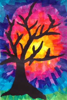 Tissue background /Construction paper tree
