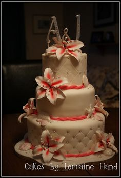 cake boss cakes - White lilies and dark red roses are my wedding flowers so this cake would be fantastic for me.