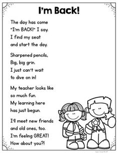 FREE! Poem-Welcome Back to School from Pencils and Magic