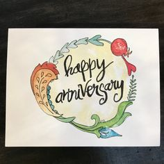 Happy Anniversary Card II / watercolor and ink / single folded card / blank inside / Kraft envelope