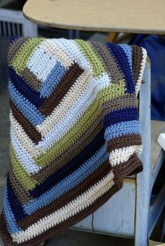 Log Cabin Crochet Baby Blanket (no pattern)