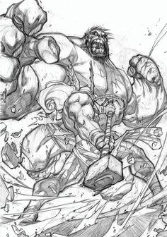 Onslaught #2 variant cover art feat. Thor v Hulk by Joe Madureira! (Marvel comics)
