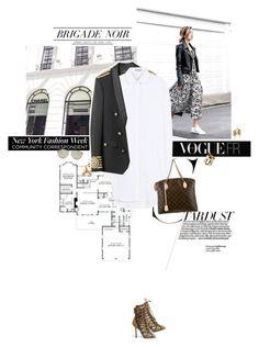 """Dream jacket."" by sa3ina ❤ liked on Polyvore featuring Balenciaga, Louis Vuitton, Christian Dior, Jenny Bird, Ludevine, louisvuitton, shirtdress, springfashion and militaryjacket"
