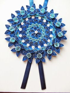 Large blue paper quilled flower home decor by IvyArtWorks on Etsy
