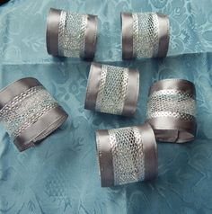 WEDDING NAPKIN RINGS Silver Satin with by ModernClassicbyCarol