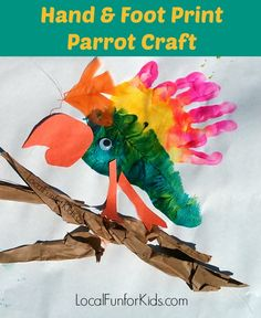 Parrot Hand & Foot Print Craft for Kids