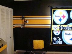 sports bedroom paint job | when my 7 year old son asked if we could give him a Steelers bedroom ...