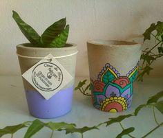 Dupla de concreto Mandala II Zen Home Office, Concrete Planters, Planter Pots, Cactus Clipart, Pottery Painting, Diy And Crafts, Clip Art, Activities, Creative