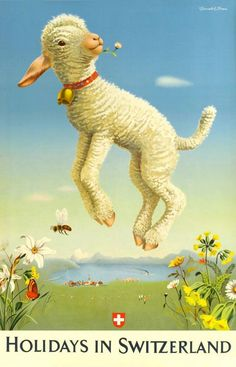 Happy Easter! Holidays in Switzerland vintage poster with cute little lamby.