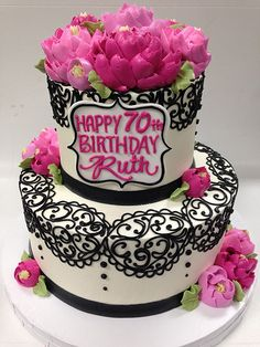 2 Tier Ruth Stacked Buttercream Birthday Cake Girls Adult Cakes 70th